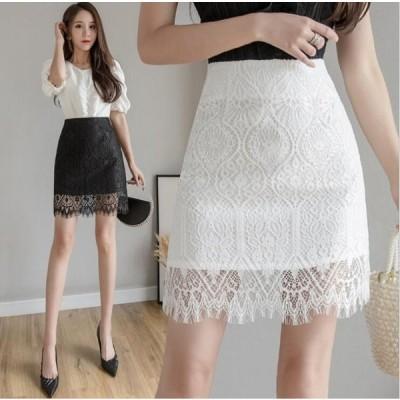 ファッション 黒/白 大きいサイズ レースミニスカート ハイウエストスカート 裏地付 スカート 着痩せ 細身 レディースタイトスカート  通勤OLスカート