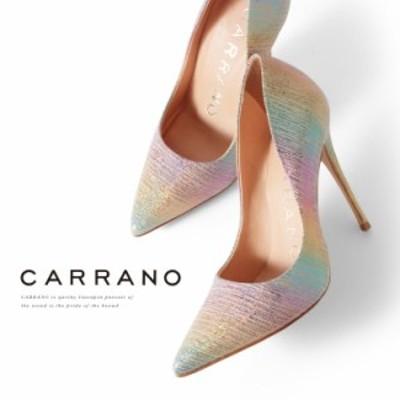 【SALE 30%OFFセール】 CARRANO パンプス ハイヒール ポインテッドトゥ レインボー マルチ 601101