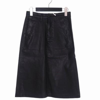 【中古】未使用品 ジースターロウ G-Star RAW Bronson A-line Skirt ブロンソン Aライン フェイクレザー スカート ひざ丈 ロゴ 24 黒 ブラック D03180-5802-990