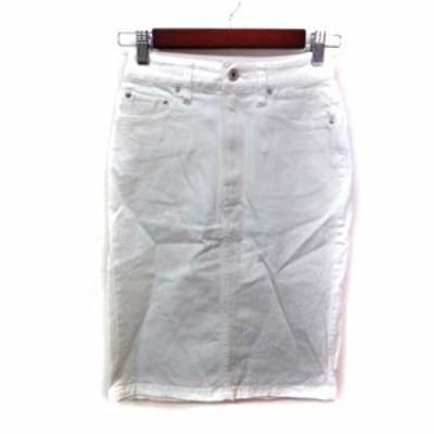 【中古】スピック&スパン Spick&Span タイトスカート ひざ丈 カラーデニム 34 白 ホワイト /YI レディース
