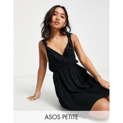 エイソス レディース ワンピース トップス ASOS DESIGN petite recycled knot strap mini beach dress in black Black