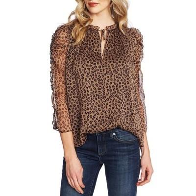 セセ レディース シャツ トップス 3/4 Ruffle Sleeve Tie Neck Leopard Print Blouse
