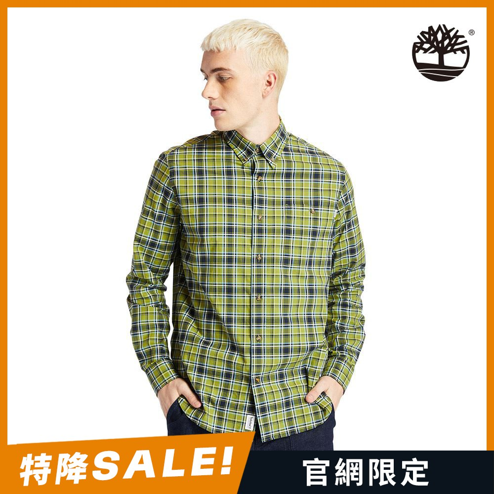 Timberland 男款馬蹄蓮綠休閒格子長袖襯衫|A252HBG2