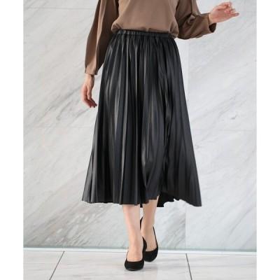 スカート レザーライクジャージプリーツスカート/ONSTYLE