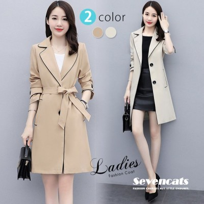 トレンチコート レディース スーツコート 無地 OL通勤 韓国風 インフルエンサー ファッション おしゃれ 送料無料