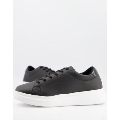 エイソス メンズ スニーカー シューズ ASOS DESIGN sneakers with chunky sole and contrast heel in black Black