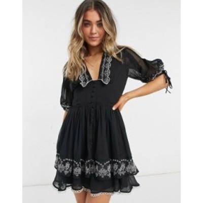 エイソス レディース ワンピース トップス ASOS DESIGN embroidered collar mini dress with tie sleeve in black Black