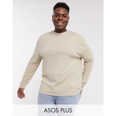 エイソス メンズ Tシャツ トップス ASOS DESIGN Plus relaxed long sleeve t-shirt in beige