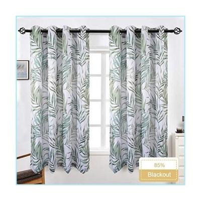 新品85% Blackout Curtains, Decoration Curtains 2 Panels 52x84 Inch Bamboo Leaves Print Curtains Thermal Insulated Grommets Drapes for Bedr