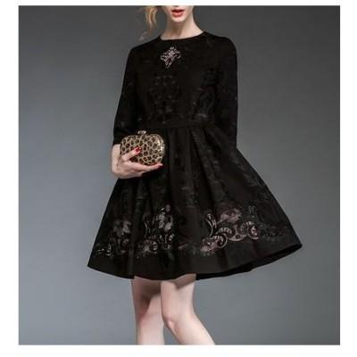レース刺繍透かし彫り七分袖ドレス♪大きいサイズあり 3色