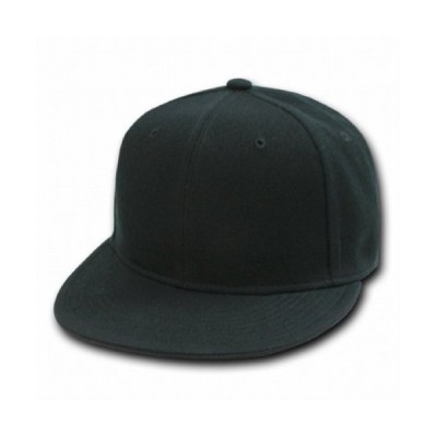 Plain Fitted Flat Bill Hat - Black, 7 1/2