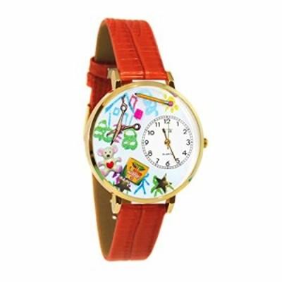 腕時計 気まぐれなかわいい プレゼント Preschool Teacher Red Leather and Goldtone Watch #WG-G06
