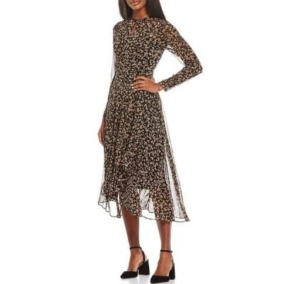 トミー ヒルフィガー レディース ワンピース トップス 3/4 Sleeve High-Low Petal Party Dress Black/Tan