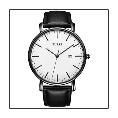 BUREIメンズ超薄型腕時計ファッショナブル石英防水ウォッチ通勤子牛ベルトブラックホワイト時計[並行