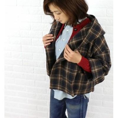 SOIL(ソイル) ウール ナイロンチェック柄 フード付きショートジャケット・NSL1951C・0341402    レディース 女性 誕生日プレゼント ギフ
