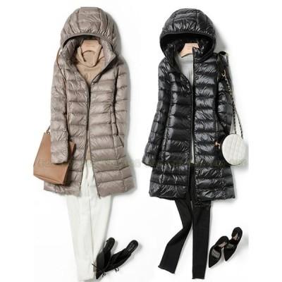 ダウンコート 軽薄 レディース ダウン コート キルティングコート 冬コート フード付き ダウンジャケット 軽い ロング丈 フード付きダウンコート
