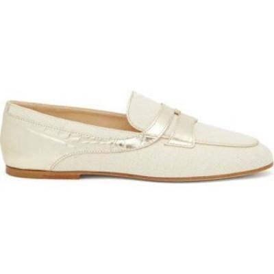 トッズ Tods レディース ローファー・オックスフォード シューズ・靴 Croc-effect panel canvas loafers White