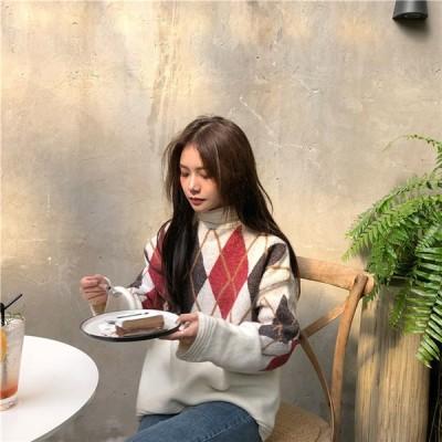 韓国ファッション CHIC気質 厚手 チェッカー セミハイカラー 暖かい ルーズ ニットセーター トップ