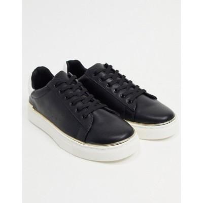 ルールロンドン メンズ スニーカー シューズ Rule London flatform sneakers with gold trim in black