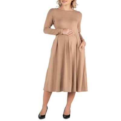 24セブンコンフォート レディース ワンピース トップス Maternity Midi Length Fit and Flare Pocket Dress