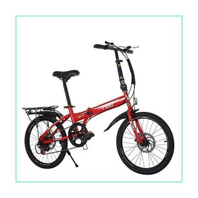 Pliuyb Road Bike Exercise Bike, 20 inch Variable Speed Folding Bicycle 6 Variable Speed Adult Bicycle Double Disc Soft Tail Brake Carbon Steel for Off