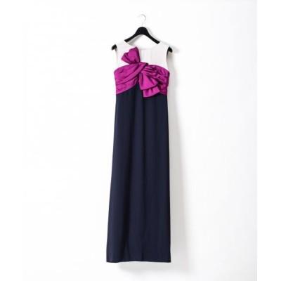 GRACE CONTINENTAL/グレースコンチネンタル リボン配色ロングドレス ネイビー 36