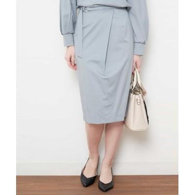 OFUON / 【洗える】ベルト付きラップ風タイトスカート WOMEN スカート > スカート