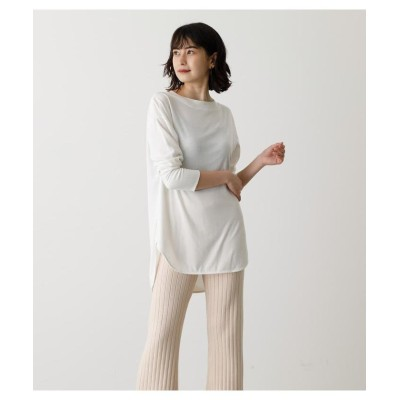 (AZUL by moussy/アズールバイマウジー)BACK BUTTON LONG T/レディース O/WHT1