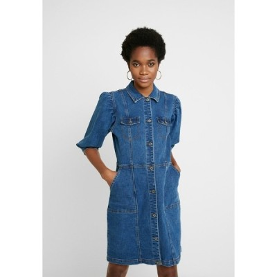 ソフト レベルス ワンピース レディース トップス SRDEBBIE SHORT DRESS - Denim dress - everyday mid blue