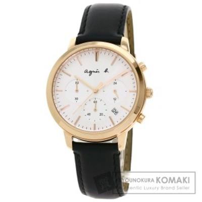 アニエスベー agnes b. BT3039X1  ラウンドフェイス  腕時計 GP 革   メンズ  中古