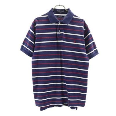 ポロスポーツ ボーダー柄 半袖 ポロシャツ M 紺×赤×白 POLO SPORTS 鹿の子 メンズ 古着 210627 メール便可