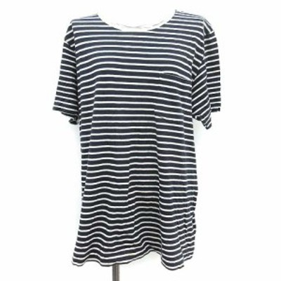 【中古】サカイ sacai Tシャツ 半袖 ボーダー 紺 コットン 3 ネイビー /MF35 レディース