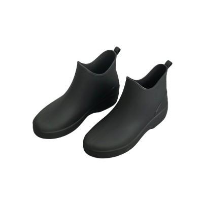 レインシューズ レディース ブラック 無地 かわいい ショートブーツ 防水 耐滑 快適 軽量 痛くない