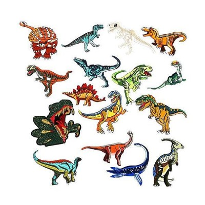 XUNHUI 恐竜 ワッペン ティラノサウルス暴君竜剣竜竜骨化石アイロン接着 刺繍アイロンアップリケワッペン 16枚