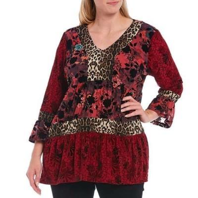 カレッサ レディース Tシャツ トップス Plus Size Cheetah Floral Print V-Neck 3/4 Bell Sleeve Ruffle Hem Tunic Crimson Multi
