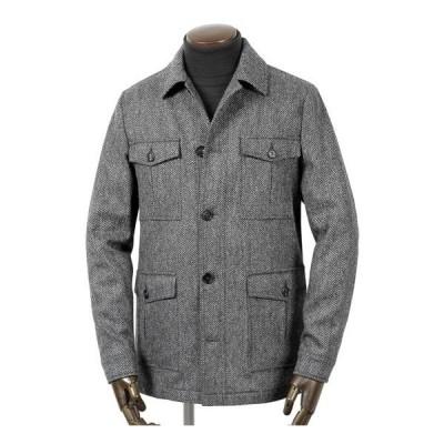 【SALE】ルイジボレッリ ルイジボレリ LUIGI BORRELLI / ウールツイードヘリンボーンサファリシャツジャケット「OW300」(グレー)