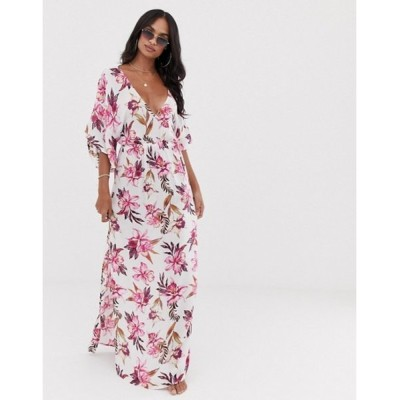 エイソス レディース ワンピース トップス ASOS DESIGN maxi dress with kimono sleeve in painted floral print
