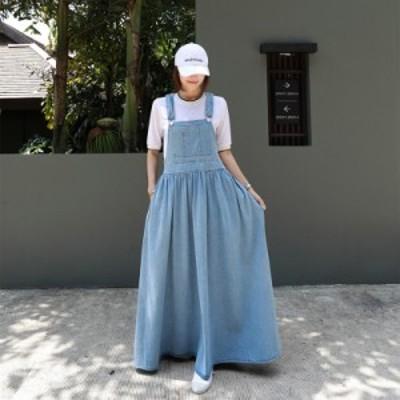サロペットデニムスカート サロペットスカート デニム レディース ジャンパースカート ワンピース 大きいサイズ ロング丈 無地 ゆったり