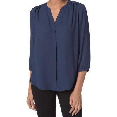 レディース 衣類 トップス Navy Womens Medium Button Down 3/4 Sleeve Blouse M ブラウス&シャツ