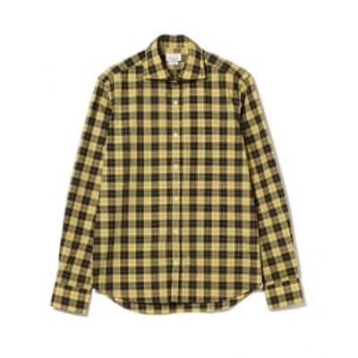 【アウトレット】GIANNETTO / 別注 イエローチェック ワイドカラーシャツ