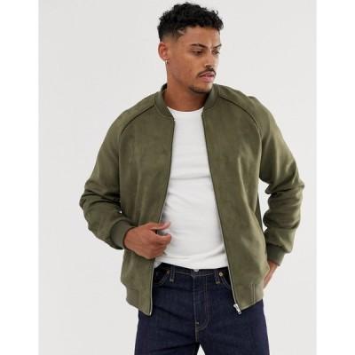 エイソス ジャケット ジャンパー ブルゾン メンズ ASOS DESIGN faux suede bomber jacket in khaki エイソス ASOS カーキ