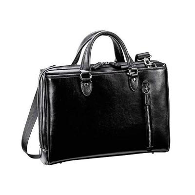 ビジネスバッグ メンズ ブリーフケース ショルダーバッグ B4 通勤 通勤鞄 大開き タブレット対応 2way 黒 ブラック 横幅39cm  (黒)