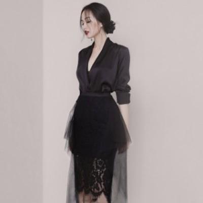 ブラック スカートスーツ レディース スーツ 通勤 OL オフィス 30代 40代 黒テーラードジャケット 黒レーススカート ミモレ丈 大人 お洒