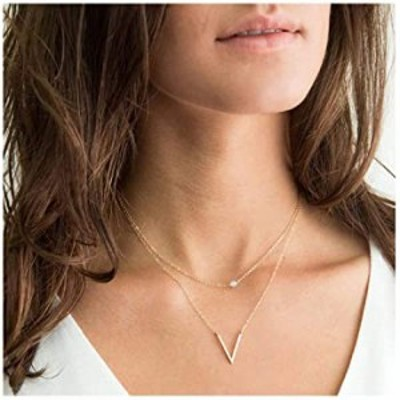 Olbye Layered V Necklace Choker V Shaped Necklace Gold Layering Necklace Jewelry for Women and Girls (Style 1)