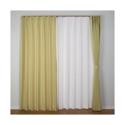 [100×150]ドレープカーテン プチクロス グリーン2枚入
