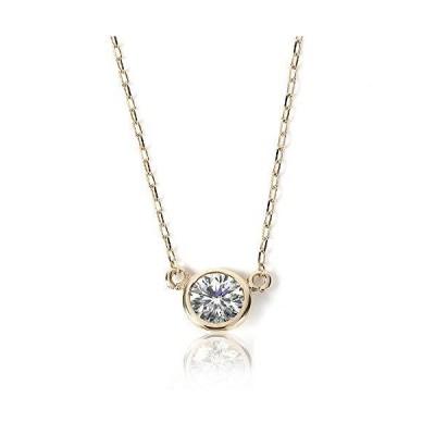 ネックレス レディース ダイヤモンド PLUSTER フクリン (天然ダイヤ 0.08ct) K10 イエローゴールド チェーン 40cm [ギ
