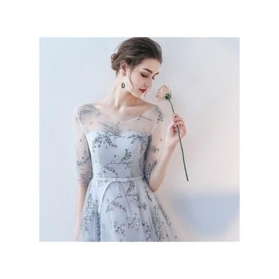 フローラル 透け感袖 シースル ー膝上 パーティードレス ライトグレー リボン ハイウエスト 袖あり 上品 結婚式 二次会 お呼ばれドレス kh-0067