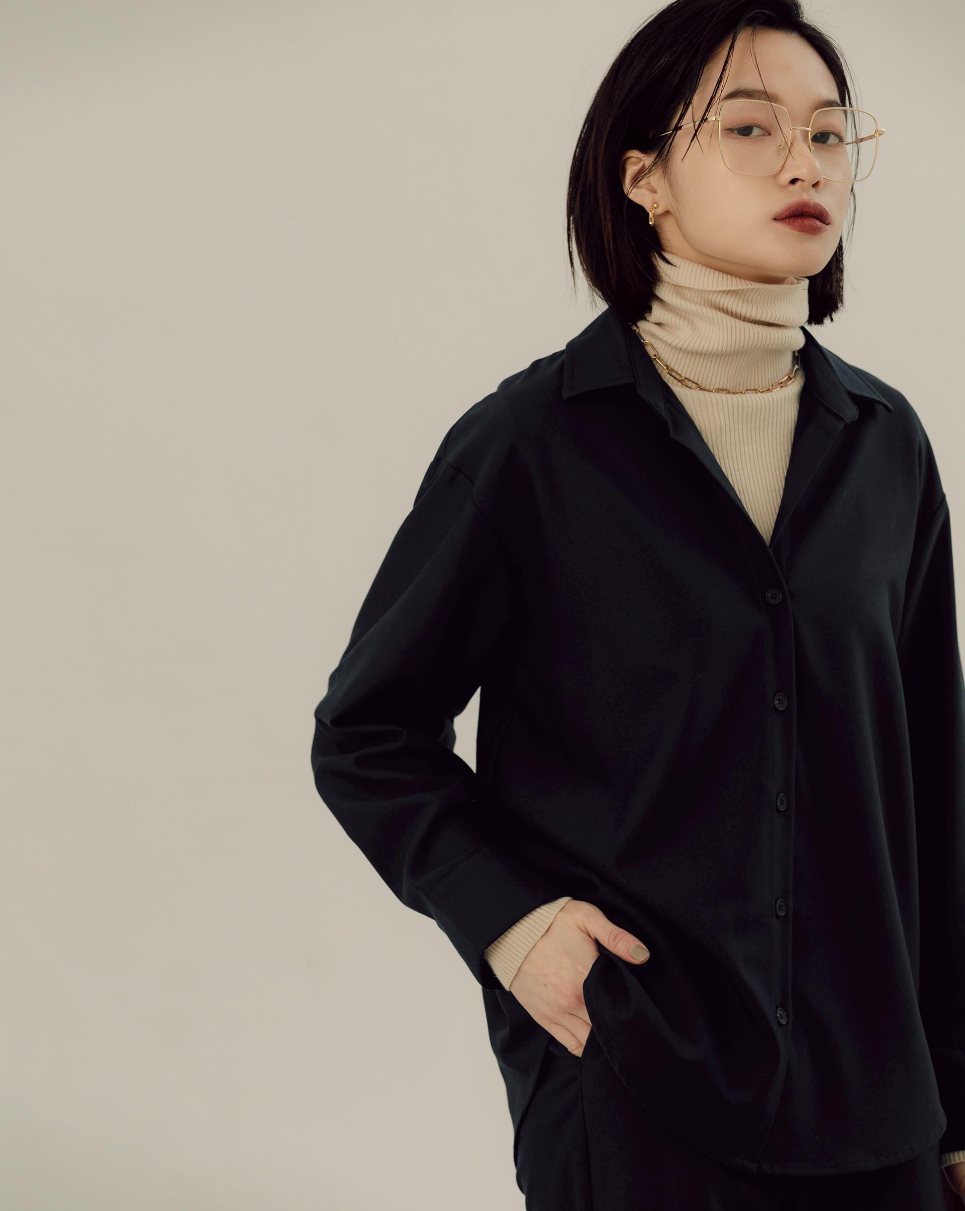 質感落肩長袖襯衫-Meierq