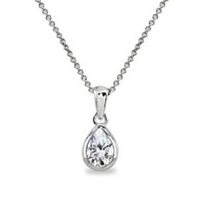 Sterling Silver Cubic Zirconia 8x6mm Teardrop Bezel-Set Dainty Pendant Necklace for Women, Teen Girls