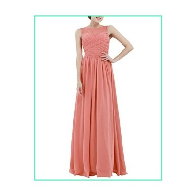 ACSUSS Women Elegant Lace Cocktail Party Evening Chiffon Maxi Dress Bridesmaid Prom Ball Gown Coral 10並行輸入品